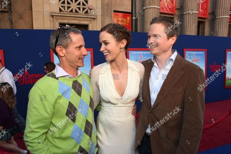 HOLLYWOOD, CA - JANUARY 23: Producer Baker Bloodworth, Emily Blunt and Producer Steve Hamilton Shaw at Touchstone Pictures World Premiere of 'Gnomeo and Juliet' at the El Capitan Theatre on January 23, 2011 in Hollywood, California. Baker Bloodworth Emily Blunt Steve Hamilton Shaw