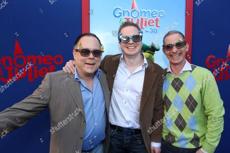 HOLLYWOOD, CA - JANUARY 23: Director/Screenwriter Kelly Asbury, Producer Steve Hamilton Shaw and Producer Baker Bloodworth at Touchstone Pictures World Premiere of 'Gnomeo and Juliet' at the El Capitan Theatre on January 23, 2011 in Hollywood, California. Kelly Asbury Steve Hamilton Shaw Baker Bloodworth