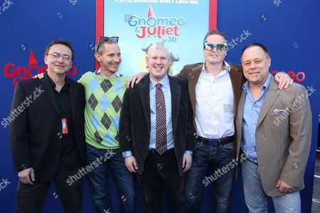 HOLLYWOOD, CA - JANUARY 23: Co-Producer Igor Khait, Producer Baker Bloodworth, Matt Lucas, Producer Steve Hamilton Shaw and Director/Screenwriter Kelly Asbury at Touchstone Pictures World Premiere of 'Gnomeo and Juliet' at the El Capitan Theatre on January 23, 2011 in Hollywood, California. Igor Khait Baker Bloodworth Matt Lucas Steve Hamilton Shaw Kelly Asbury