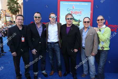 HOLLYWOOD, CA - JANUARY 23: Co-Producer Igor Khait, Producer David Furnish, Producer Steve Hamilton Shaw, Exec. Producer Elton John, Director/Screenwriter Kelly Asbury and Producer Baker Bloodworth at Touchstone Pictures World Premiere of 'Gnomeo and Juliet' at the El Capitan Theatre on January 23, 2011 in Hollywood, California. Igor Khait David Furnish Steve Hamilton Shaw Elton John Kelly Asbury Baker Bloodworth