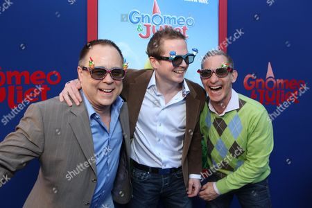 Director/Screenwriter Kelly Asbury, Producer Steve Hamilton Shaw and Producer Baker Bloodworth at Touchstone Pictures World Premiere of 'Gnomeo and Juliet' at the El Capitan Theatre on January 23, 2011 in Hollywood, California.
