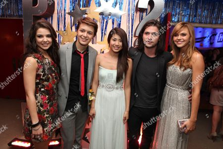 HOLLYWOOD, CA - APRIL 21: Danielle Campbell, Nolan Sotillo, Yin Chang, Thomas McDonell and Aimee Teegarden at The World Premiere of Disney's 'Prom' at the El Capitan Theatre on April 21, 2011 in Hollywood, California. Danielle Campbell Nolan Sotillo Yin Chang Thomas McDonell Aimee Teegarden