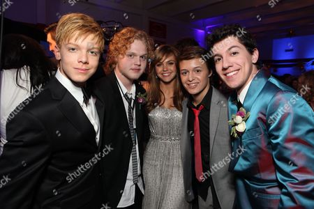 HOLLYWOOD, CA - APRIL 21: Cameron Monaghan, Joe Adler, Aimee Teegarden, Nolan Sotillo and Jared Kusnitz at The World Premiere of Disney's 'Prom' at the El Capitan Theatre on April 21, 2011 in Hollywood, California. Cameron Monaghan Joe Adler Aimee Teegarden Nolan Sotillo Jared Kusnitz