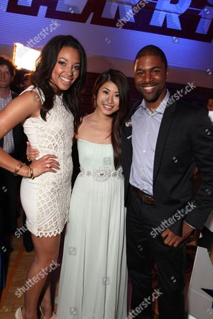 Stock Photo of HOLLYWOOD, CA - APRIL 21: Kylie Bunbury, Yin Chang and De'Vaughn Nixon at The World Premiere of Disney's 'Prom' at the El Capitan Theatre on April 21, 2011 in Hollywood, California. Kylie Bunbury Yin Chang De'Vaughn Nixon