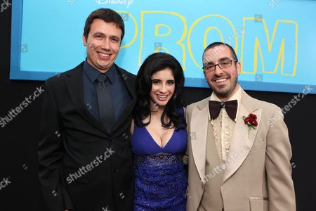 HOLLYWOOD, CA - APRIL 21: Exec. Producer Samson Mucke, Janelle Ortiz and Director Joe Nussbaum at The World Premiere of Disney's 'Prom' at the El Capitan Theatre on April 21, 2011 in Hollywood, California. Samson Mucke Janelle Ortiz Joe Nussbaum
