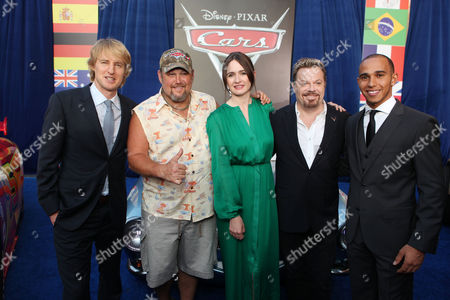 HOLLYWOOD, CA - JUNE 18: Owen Wilson, Larry the Cable Guy, Emily Mortimer, Eddie Izzard, and Lewis Hamilton at The World Premiere of Disney/Pixar's 'Cars 2' at the El Capitan Theatre on June 18, 2011 in Hollywood, California. Owen Wilson Larry the Cable Guy Emily Mortimer Eddie Izzard Lewis Hamilton