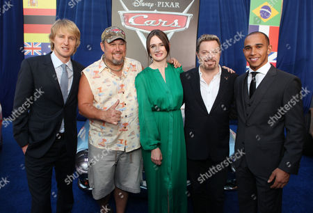 Stock Image of HOLLYWOOD, CA - JUNE 18: Owen Wilson, Larry the Cable Guy, Emily Mortimer, Eddie Izzard, and Lewis Hamilton at The World Premiere of Disney/Pixar's 'Cars 2' at the El Capitan Theatre on June 18, 2011 in Hollywood, California. Owen Wilson Larry the Cable Guy Emily Mortimer Eddie Izzard Lewis Hamilton