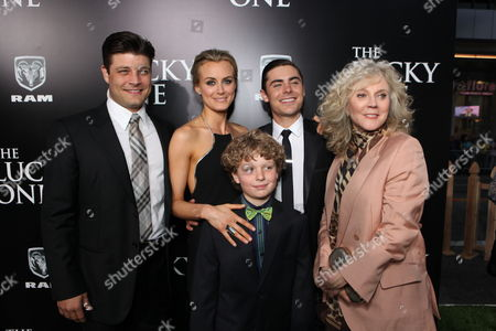 HOLLYWOOD, CA - APRIL 16: Jay R. Ferguson, Taylor Schilling, Riley Thomas Stewart, Zac Efron and Blythe Danner at The World Premiere of Warner Bros.' 'The Lucky One' at Grauman's Chinese Theatre on April 16, 2012 in Hollywood, California.