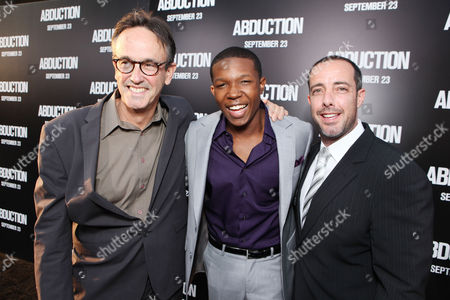 HOLLYWOOD, CA - SEPTEMBER 15: Producer Pat Crowley, Denzel Whitaker and Producer Lee Stollman at Lionsgate's World Premiere of 'Abduction' at Grauman's Chinese Theatre on September 15, 2011 in Hollywood, California. Pat Crowley Denzel Whitaker Lee Stollman