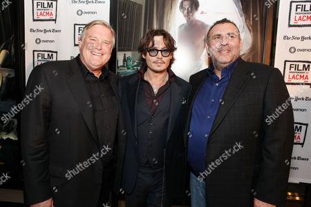 LOS ANGELES, CA - OCTOBER 13: Producer Tim Headington, Johnny Depp and Producer Graham King attend FilmDistrict's World Premiere of 'The Rum Diary' at Bing Theatre at LACMA on October 13, 2011 in Los Angeles, California. Tim Headington Johnny Depp Graham King
