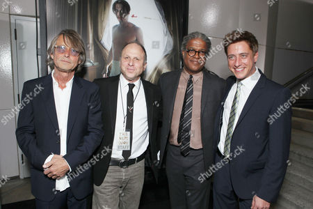 LOS ANGELES, CA - OCTOBER 13: Writer/Director Bruce Robinson, FilmDistrict's Bob Berney, Elvis Mitchell and Sean McManus attend FilmDistrict's World Premiere of 'The Rum Diary' at Bing Theatre at LACMA on October 13, 2011 in Los Angeles, California. Bruce Robinson Bob Berney Elvis Mitchell Sean McManus
