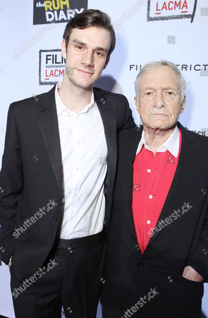 LOS ANGELES, CA - OCTOBER 13: Marston Hefner and Hugh Hefner attend FilmDistrict's World Premiere of 'The Rum Diary' at Bing Theatre at LACMA on October 13, 2011 in Los Angeles, California. Marston Hefner Hugh Hefner