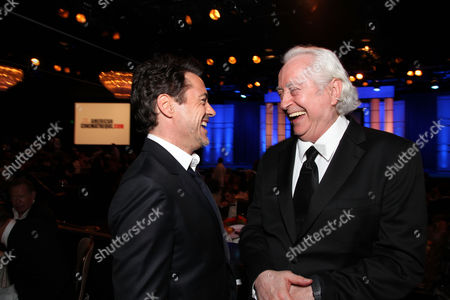 Stock Picture of BEVERLY HILLS, CA - OCTOBER 14: (EXCLUSIVE COVERAGE) Robert Downey Jr. and Robert Downey Jr. at American Cinematheque's 2011 Award Show Honoring Robert Downey Jr. at The Beverly Hilton Hotel on October 14, 2011 in Beverly Hills, California. Robert Downey Jr. Robert Downey Sr.