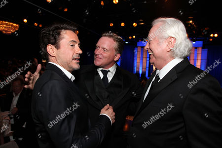 Stock Image of BEVERLY HILLS, CA - OCTOBER 14: (EXCLUSIVE COVERAGE) Robert Downey Jr., Anthony Michael Hall and Robert Downey Jr. at American Cinematheque's 2011 Award Show Honoring Robert Downey Jr. at The Beverly Hilton Hotel on October 14, 2011 in Beverly Hills, California. Robert Downey Jr. Anthony Michael Hall Robert Downey Sr.