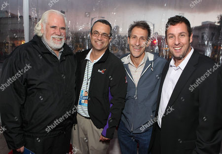 WESTWOOD, CA - NOVEMBER 06: Sony's Jeff Blake, Producer Jack Giarraputo, Sony's Michael Lynton and Adam Sandler at Columbia Pictures' World Premiere of 'Jack and Jill' at Regency Village Theatre on November 6, 2011 in Westwood, California. Jeff Blake Jack Giarraputo Michael Lynton Adam Sandler