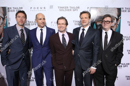 HOLLYWOOD, CA - DECEMBER 06: Co-screenwriter Peter Straughan, Mark Strong, Gary Oldman, Colin Firth and Director Tomas Alfredson at Focus Features Premiere of 'Tinker Tailor Soldier Spy' held at ArcLight Hollywood on December 6, 2011 in Hollywood, California. Peter Straughan Mark Strong Gary Oldman Colin Firth Tomas Alfredson