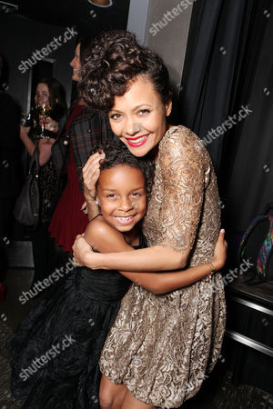 Stock Picture of LOS ANGELES, CA - FEBRUARY 14: Jordenn Thompson and Thandie Newton at Lionsgate's World Premiere of 'Good Deeds' at Regal Cinemas L.A. Live on February 14, 2012 in Los Angeles, California. Jordenn Thompson Thandie Newton