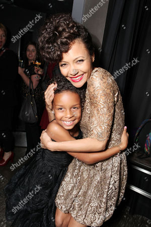Stock Photo of LOS ANGELES, CA - FEBRUARY 14: Jordenn Thompson and Thandie Newton at Lionsgate's World Premiere of 'Good Deeds' at Regal Cinemas L.A. Live on February 14, 2012 in Los Angeles, California. Jordenn Thompson Thandie Newton