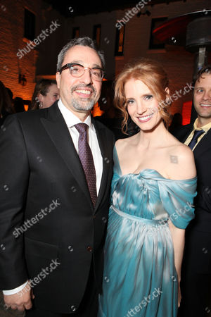 LOS ANGELES, CA - FEBRUARY 23: Michael Barnathan and actress Jessica Chastain attend The Hollywood Reporter Nominees' Night 2012 Celebrating The Nine Best Pictures Nominees held at The Getty House on February 23, 2012 in Los Angeles, California. Michael Barnathan Jessica Chastain