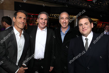 HOLLYWOOD, CA - MARCH 13: (L-R) Sony Michael Lynton, MGM CEO & co-chairman Roger Birnbaum, MGM CEO & co-chairman Gary Barber and actor Jonah Hill at Columbia Pictures' Premiere of '21 Jump Street' held at Grauman's Chinese Theatre on March 13, 2012 in Hollywood, California. Michael Lynton Roger Birnbaum Gary Barber Jonah Hill