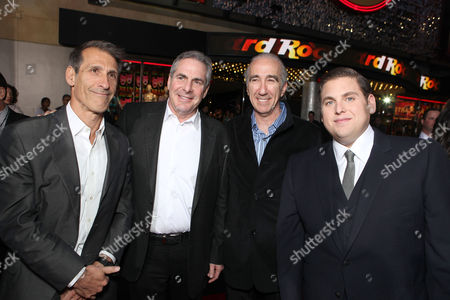HOLLYWOOD, CA - MARCH 13: (L-R) Sony's Michael Lynton, MGM CEO & co-chairman Roger Birnbaum, MGM CEO & co-chairman Gary Barber and actor Jonah Hill at Columbia Pictures' Premiere of '21 Jump Street' held at Grauman's Chinese Theatre on March 13, 2012 in Hollywood, California. Michael Lynton Roger Birnbaum Gary Barber Jonah Hill