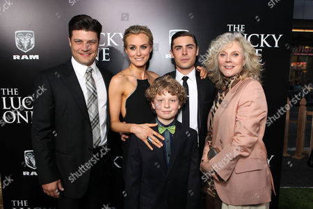 HOLLYWOOD, CA - APRIL 16: (L-R) Jay R. Ferguson, Taylor Schilling, Riley Thomas Stewart, Zac Efron and Blythe Danner at The World Premiere of Warner Bros.' 'The Lucky One' Presented by Dodge Ram at Grauman's Chinese Theatre on April 16, 2012 in Hollywood, California. (Photo by Le Studio/FilmMagic)Jay R. Ferguson Taylor Schilling Riley Thomas Stewart Zac Efron Blythe Danner