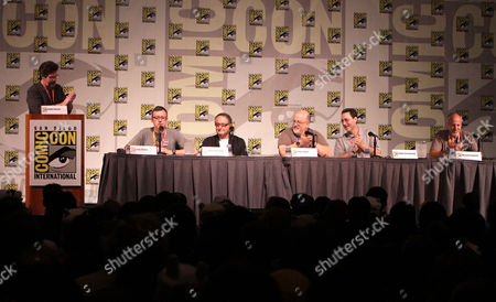 SAN DIEGO, CA - JULY 14: (L-R) Ralph Garman, Gary Whitta, Peter Suschitzky, Peter David, Robert Greenberger and Michael Friedman at Sony Pictures 'After Earth' Panel At 2012 Comic-Con Convention At 2012 Comic-Con Convention at San Diego Convention Center on July 14, 2012 in San Diego, California. Ralph Garman Gary Whitta Peter Suschitzky Peter David Robert Greenberger Michael Friedman