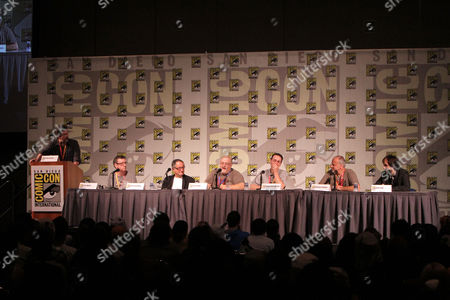 SAN DIEGO, CA - JULY 14: (L-R) Ralph Garman, Gary Whitta, Peter Suschitzky, Peter David, Robert Greenberger and Michael Friedman at Sony Pictures 'After Earth' Panel At 2012 Comic-Con Convention At 2012 Comic-Con Convention at San Diego Convention Center on July 14, 2012 in San Diego, California. Ralph Garman Gary Whitta Peter Suschitzky Peter David Robert Greenberger Robert Greenberger Michael Friedman