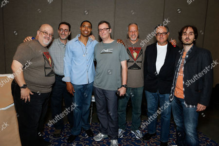 SAN DIEGO, CA - JULY 14: (L-R) Peter David, Robert Greenberger, Producer Caleeb Pinkett, Gary Whitta, Michael Friedman, Peter Suschitzky and Beni Lobel at Sony Pictures 'After Earth' Panel At 2012 Comic-Con Convention At 2012 Comic-Con Convention at San Diego Convention Center on July 14, 2012 in San Diego, California. Peter David Robert Greenberger Caleeb Pinkett Gary Whitta Michael Friedman Peter Suschitzky Beni Lobel