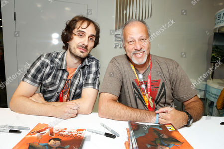 SAN DIEGO, CA - JULY 14: Beni Lobel and Michael Friedman at Sony Pictures 'After Earth' Autograph Signing At 2012 Comic-Con Convention at San Diego Convention Center on July 14, 2012 in San Diego, California. Beni Lobel Michael Friedman