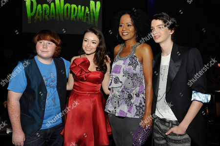 UNIVERSAL CITY, CA - AUGUST 05: (L-R) Tucker Albrizzi, Jodelle Ferland, Tempesst Bledsoe and Kodi Smit-McPhee at Focus Features 'ParaNorman' World Premiere at The Globe Theatre at Universal Studios on August 5, 2012 in Universal City, California. Kodi Smit-McPhee Tucker Albrizzi Jodelle Ferland Tempesst Bledsoe