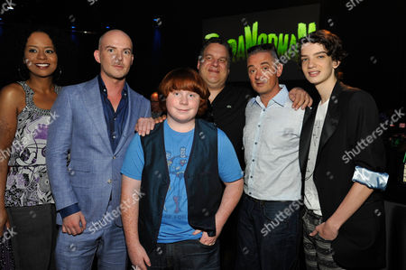 UNIVERSAL CITY, CA - AUGUST 05: (L-R) Tempesst Bledsoe, Director/Writer Chris Butler, Tucker Albrizzi, Jeff Garlin, Director Sam Fell and Kodi Smit-McPhee at Focus Features 'ParaNorman' World Premiere at The Globe Theatre at Universal Studios on August 5, 2012 in Universal City, California. Chris Butler Jeff Garlin Sam Fell Kodi Smit-McPhee Tempesst Bledsoe Tucker Albrizzi