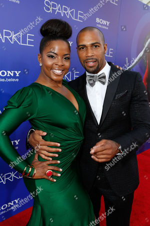 HOLLYWOOD, CA - AUGUST 16: Brely Evans and Omari Hardwick at TriStar Pictures 'Sparkles' Premiere held at Grauman's Chinese Theatre on August 16, 2012 in Hollywood, California. Brely Evans Omari Hardwick