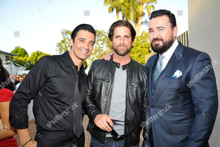 Stock Image of LOS ANGELES, CA - AUGUST 18: Gilles Marini, Grant Reynolds, and Honoree Chris Salgardo at Project Angel Food's Angel Awards 2012 held at Project Angel Food on August 18, 2012 in Los Angeles, California. Gilles Marini Grant Reynolds Chris Salgardo