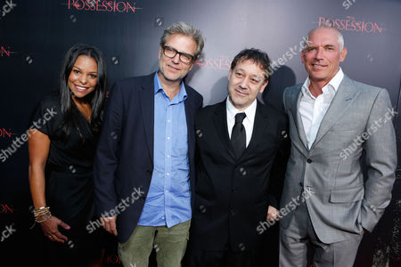 HOLLYWOOD, CA - AUGUST 28: Executive producer Nicole Brown, Director Ole Bornedal, producer Sam Raimi and executive producer Joe Drake arrive at Lionsgate's 'The Possession' Los Angeles Premiere at ArcLight Cinemas on August 28, 2012 in Hollywood, California. . Nicole Brown Ole Bornedal Sam Raimi Joe Drake