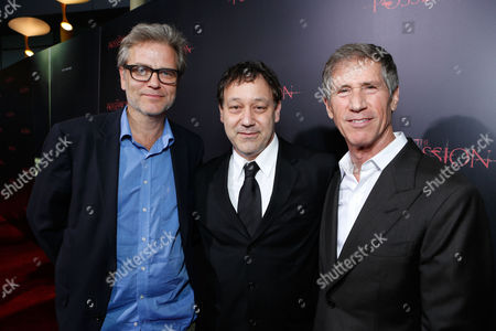 HOLLYWOOD, CA - AUGUST 28: Director Ole Bornedal, Director Sam Raimi, and Lionsgate's Jon Feltheimer arrive at Lionsgate's 'The Possession' Los Angeles Premiere at ArcLight Cinemas on August 28, 2012 in Hollywood, California. . Ole Bornedal Sam Raimi Jon Feltheimer