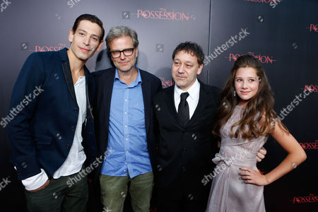 Stock Image of HOLLYWOOD, CA - AUGUST 28: Matisyahu, Director Ole Bornedal, Producer Sam Raimi and Natasha Calis arrive at Lionsgate's 'The Possession' Los Angeles Premiere at ArcLight Cinemas on August 28, 2012 in Hollywood, California. . Matisyahu Ole Bornedal Sam Raimi Natasha Calis