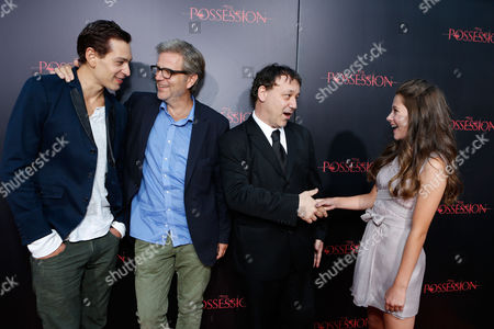 Stock Picture of HOLLYWOOD, CA - AUGUST 28: Matisyahu, Director Ole Bornedal, Producer Sam Raimi and Natasha Calis arrive at Lionsgate's 'The Possession' Los Angeles Premiere at ArcLight Cinemas on August 28, 2012 in Hollywood, California. . Matisyahu Ole Bornedal Sam Raimi Natasha Calis