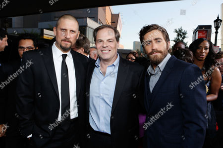 LOS ANGELES, CA - SEPTEMBER 17: Writer/Driector David Ayer, Open Road's Tom Ortenberg and Jake Gyllenhall at Open Road Films' 'End Of Watch' Premiere held at Regal Cinemas L.A. LIVE Stadium 14 on September 17, 2012 in Los Angeles, California. David Ayer Tom Ortenberg Jake Gyllenhall