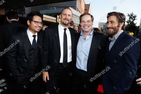 LOS ANGELES, CA - SEPTEMBER 17: Michael Pena, Writer/Driector David Ayer, Open Road's Tom Ortenberg and Jake Gyllenhall at Open Road Films' 'End Of Watch' Premiere held at Regal Cinemas L.A. LIVE Stadium 14 on September 17, 2012 in Los Angeles, California. Michael Pena David Ayer Tom Ortenberg Jake Gyllenhall