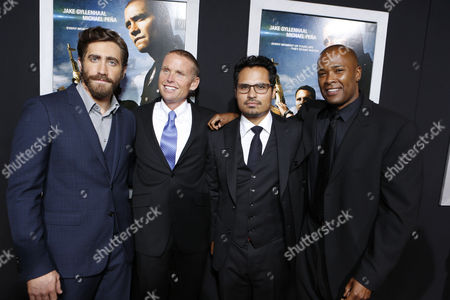 LOS ANGELES, CA - SEPTEMBER 17: Jake Gyllenhall, Jaime FitzSimons, Michael Pena and Daryn Dupree at Open Road Films' 'End Of Watch' Premiere held at Regal Cinemas L.A. LIVE Stadium 14 on September 17, 2012 in Los Angeles, California.