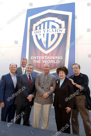 BURBANK, CA - OCTOBER 03: Worldwide President of Warner Home Video Ron Sanders, President of Warner Home Video North America Mark Horak, Warner Bros.' Chairman & CEO Barry Meyer, Warner Home Entertainment Executive Vice President and General Manager of Theatrical Catalog Jeff Baker, Jane Withers and Director William Friedkin at Warner Bros. Home Entertainment 2013 Year-Long 90th Anniversary Global Celebration held at Warner Bros. Studios on October 3, 2012 in Burbank, California. Barry Meyer Jeff Baker Ron Sanders Mark Horak Jane Withers William Friedkin
