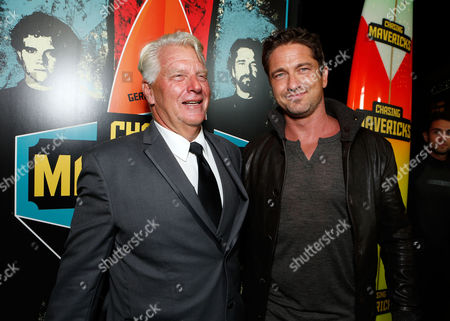 LOS ANGELES, CA - OCTOBER 18: Frosty Hesson and Gerard Butler at Twentieth Century Fox And Walden Media Special Screening Of 'Chasing Mavericks' at Pacific Theatre at The Grove on October 18, 2012 in Los Angeles, California. Frosty Hesson Gerard Butler