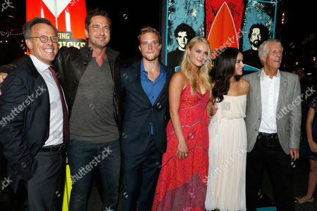 LOS ANGELES, CA - OCTOBER 18: Producer Mark Johnson, Gerard Butler, Jonny Weston, Leven Rambin, Abigail Spencer and Director Michael Apted at Twentieth Century Fox And Walden Media Special Screening Of 'Chasing Mavericks' at Pacific Theatre at The Grove on October 18, 2012 in Los Angeles, California. Gerard Butler Jonny Weston Leven Rambin Abigail Spencer Michael Apted Mark Johnson
