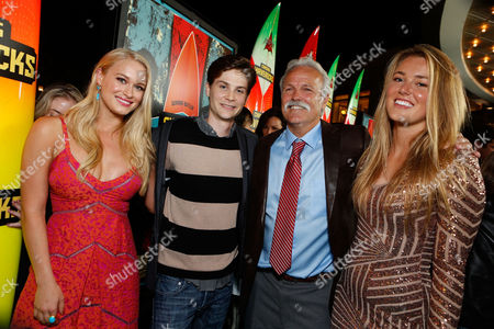 LOS ANGELES, CA - OCTOBER 18: Levin Rambin, Devin Crittenden, Bob Pearson and Kyla Pearson at Twentieth Century Fox And Walden Media Special Screening Of 'Chasing Mavericks' at Pacific Theatre at The Grove on October 18, 2012 in Los Angeles, California. Leven Rambin Devin Crittenden Bob Pearson Kyla Pearson