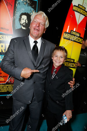 Stock Picture of LOS ANGELES, CA - OCTOBER 18: Frosty Hesson and Cooper Timberline at Twentieth Century Fox And Walden Media Special Screening Of 'Chasing Mavericks' at Pacific Theatre at The Grove on October 18, 2012 in Los Angeles, California. Cooper Timberline Frosty Hesson