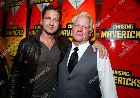 LOS ANGELES, CA - OCTOBER 18: Gerard Butler and Frosty Hesson at Twentieth Century Fox And Walden Media Special Screening Of 'Chasing Mavericks' at Pacific Theatre at The Grove on October 18, 2012 in Los Angeles, California. Gerard Butler Frosty Hesson