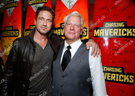 Stock Image of LOS ANGELES, CA - OCTOBER 18: Gerard Butler and Frosty Hesson at Twentieth Century Fox And Walden Media Special Screening Of 'Chasing Mavericks' at Pacific Theatre at The Grove on October 18, 2012 in Los Angeles, California. Gerard Butler Frosty Hesson