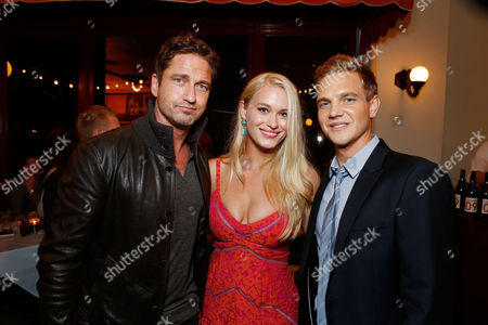 LOS ANGELES, CA - OCTOBER 18: Gerard Butler, Leven Rambin and Taylor Handley at Twentieth Century Fox And Walden Media Special Screening Of 'Chasing Mavericks' at Pacific Theatre at The Grove on October 18, 2012 in Los Angeles, California. Taylor Handley Gerard Butler Leven Rambin