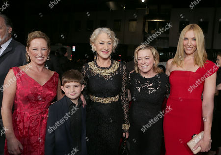 BEVERLY HILLS, CA - NOVEMBER 20: Fox Searchlight President of Production Claudia Lewis, Felix Mirren, Helen Mirren, Fox Searchlight President Nancy Utley and Toni Collette at Fox Searchlight Pictures' 'Hitchcock' Los Angeles Premiere held at AMPAS Samuel Goldwyn Theater on November 20, 2012 in Beverly Hills, California. Claudia Lewis Felix Mirren Helen Mirren Nancy Utley Toni Collette